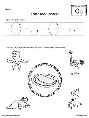 trace letter o and connect pictures worksheet. Black Bedroom Furniture Sets. Home Design Ideas