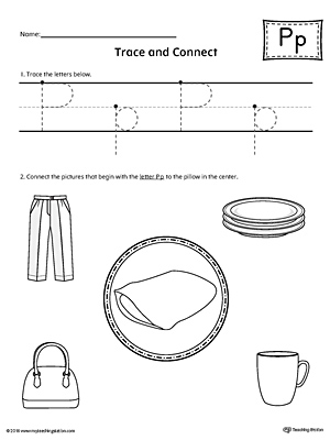 Trace Letter P And Connect Pictures Worksheet