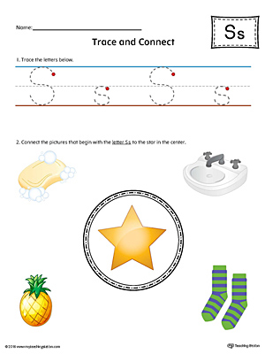 Trace Letter S and Connect Pictures Worksheet (Color)