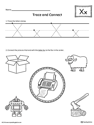 Trace Letter X And Connect Pictures Worksheet