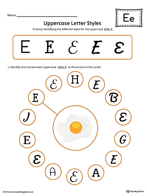 Practice identifying the different uppercase letter E styles with this colorful printable worksheet.