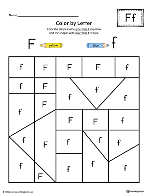 Uppercase Letter F Color-by-Letter Worksheet | MyTeachingStation.com