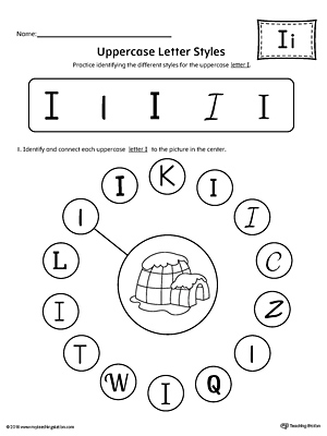 Practice identifying the different uppercase letter I styles with this kindergarten printable worksheet.
