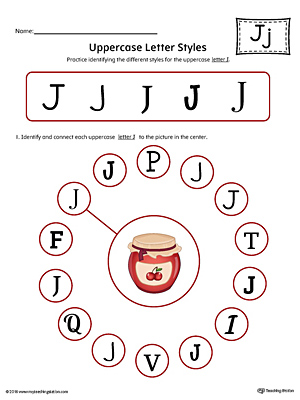 Uppercase Letter J Styles Worksheet (Color) | MyTeachingStation.com