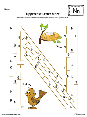 uppercase letter n maze worksheet color. Black Bedroom Furniture Sets. Home Design Ideas
