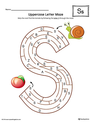 Uppercase Letter S Maze Worksheet (Color)