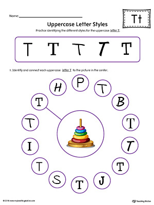 Practice identifying the different uppercase letter T styles with this colorful printable worksheet.