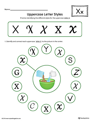 Uppercase Letter X Styles Worksheet (Color)