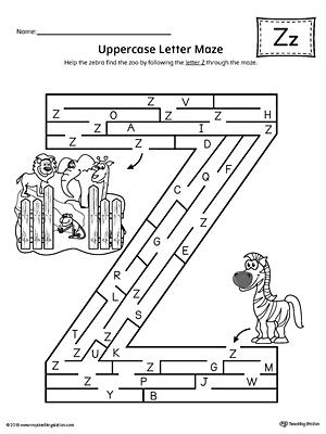 Uppercase Letter Z Maze Worksheet Myteachingstation Com