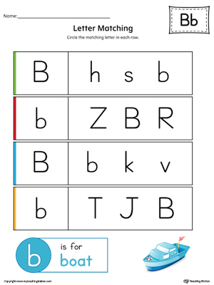Letter B Uppercase and Lowercase Matching Worksheet (Color)