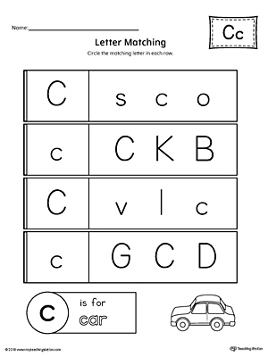letter c worksheets letter c uppercase and lowercase matching worksheet 22785