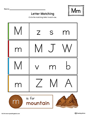 letter m uppercase and lowercase matching worksheet color. Black Bedroom Furniture Sets. Home Design Ideas