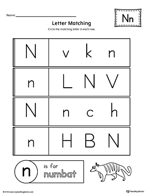 letter n beginning sound picture match worksheet. Black Bedroom Furniture Sets. Home Design Ideas