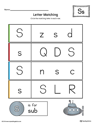 Letter S Uppercase and Lowercase Matching Worksheet (Color)