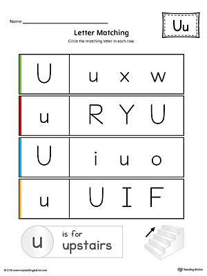 Preschool and kindergarten worksheets myteachingstation letter u uppercase and lowercase matching worksheet color thecheapjerseys Gallery