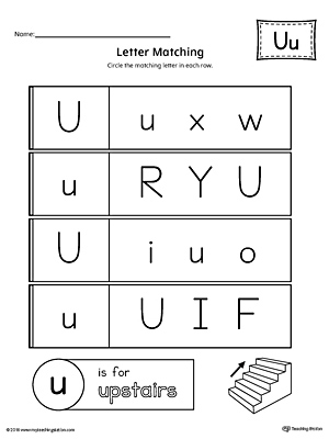 Uppercase And Lowercase Letter Matching Letter U Worksheet on writing printable kindergarten worksheets