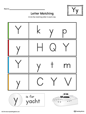 letter y uppercase and lowercase matching worksheet color. Black Bedroom Furniture Sets. Home Design Ideas