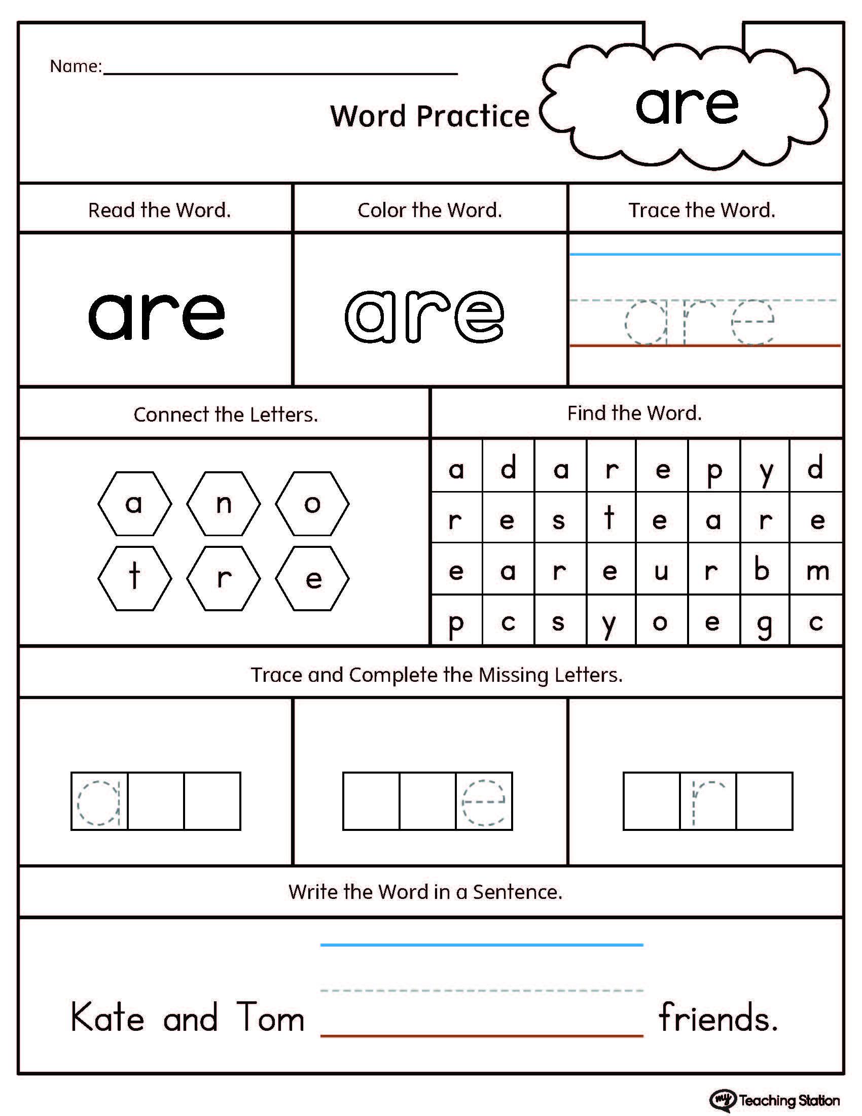 Kindergarten Reading Printable Worksheets Myteachingstation