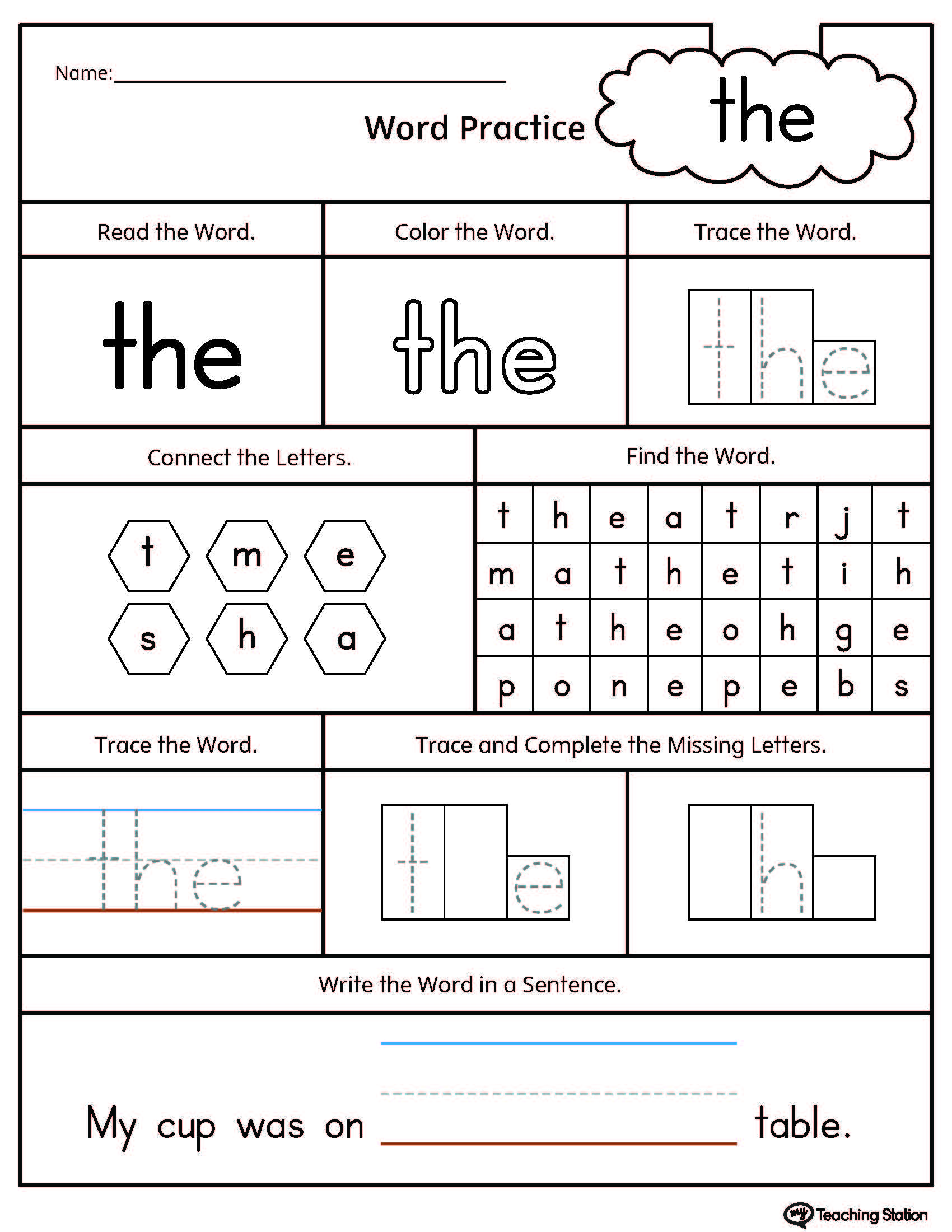 Early reading worksheets printable