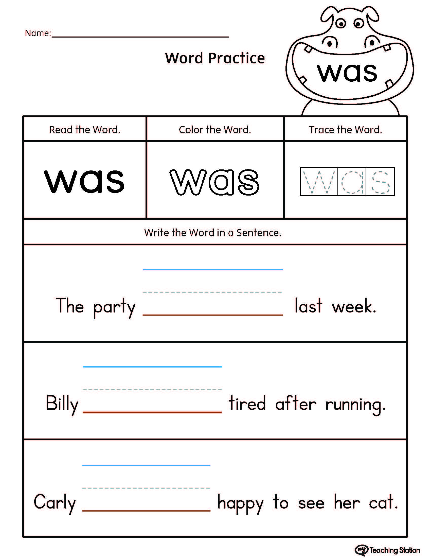 worksheet Sentence Structure Worksheets For Kindergarten kindergarten printable worksheets myteachingstation com build sentences using sight word was
