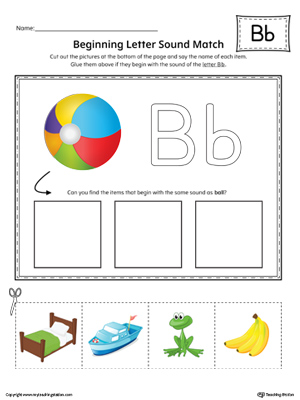 Letter B Beginning Sound Picture Match Worksheet (Color)