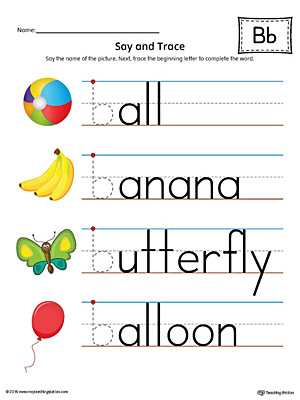 Letter B Beginning Sound Words Say And Trace Worksheet Color on writing printable kindergarten worksheets
