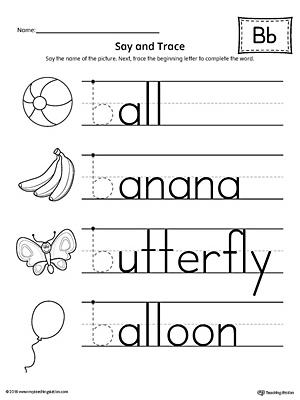 Say and Trace: Letter B Beginning Sound Words Worksheet