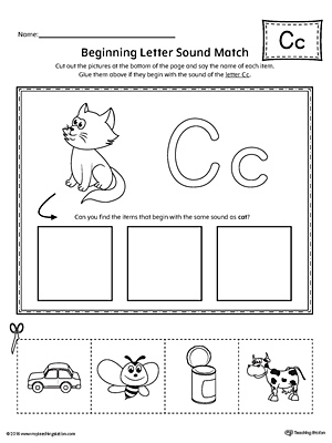 letter c beginning sound picture match worksheet. Black Bedroom Furniture Sets. Home Design Ideas