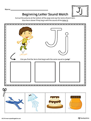 Practice matching pictures that begin with the letter J sound with the correct letter shape in this printable worksheet.