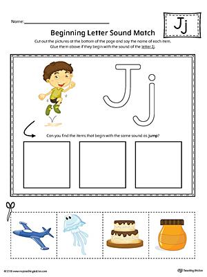 Letter J Beginning Sound Picture Match Worksheet (Color ...