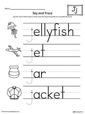say and trace letter j beginning sound words worksheet. Black Bedroom Furniture Sets. Home Design Ideas