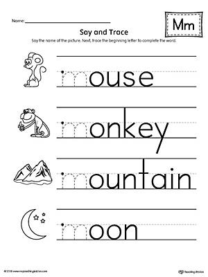 say and trace letter m beginning sound words worksheetsay and trace letter m beginning sound words worksheet myteachingstation com
