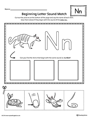 letter n worksheets letter n beginning sound picture match worksheet 1374