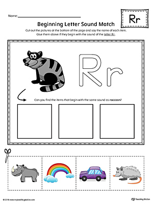 Practice matching pictures that begin with the letter R sound with the correct letter shape in this printable worksheet.