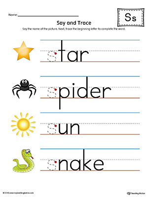 Say and Trace: Letter S Beginning Sound Words Worksheet (Color)