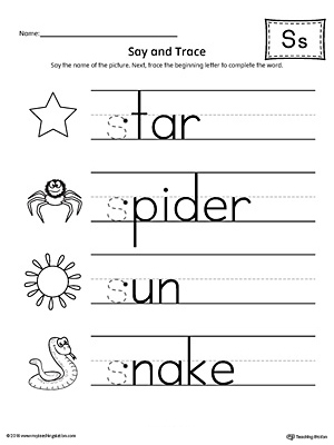 Say and Trace: Letter S Beginning Sound Words Worksheet