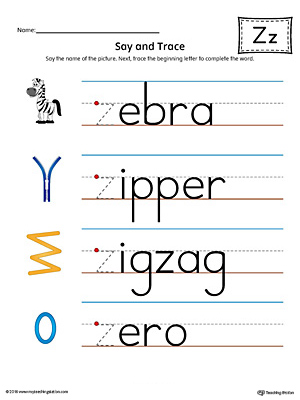 Say And Trace: Letter Z Beginning Sound Words Worksheet (Color)