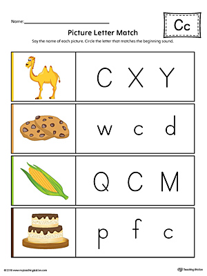 picture letter match letter c worksheet color. Black Bedroom Furniture Sets. Home Design Ideas