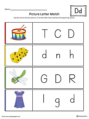 Picture Letter Match: Letter D printable worksheet will help your preschooler practice recognizing the beginning sound of the letter D.