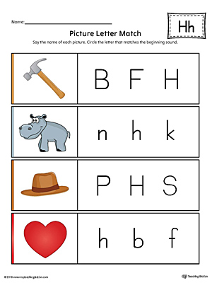 High Quality Picture Letter Match: Letter H Worksheet (Color)