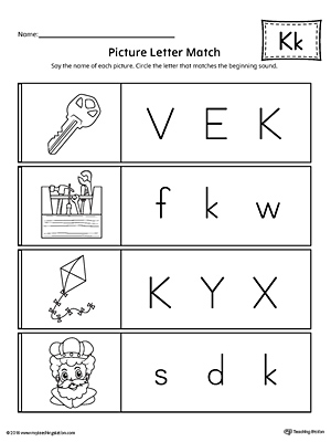 Say and Trace: Letter K Beginning Sound Words Worksheet ...
