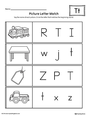 Use the Picture Letter Match: Letter T printable worksheet to practice recognizing the beginning sound of the letter T.