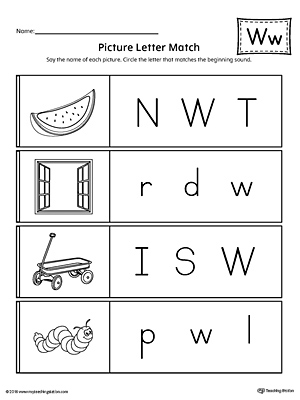 Picture Letter Match: Letter W Worksheet | MyTeachingStation.com