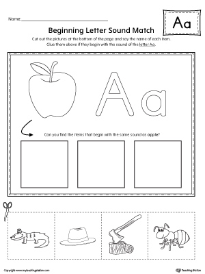 Short Letter A Beginning Sound Picture Match Worksheet ...