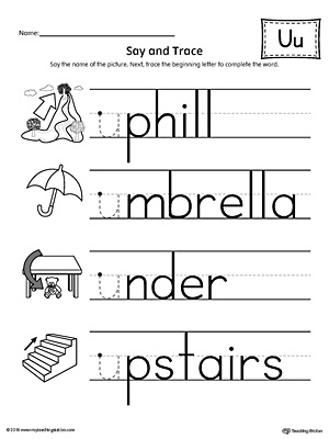 Say and Trace: Short Letter U Beginning Sound Words Worksheet ...
