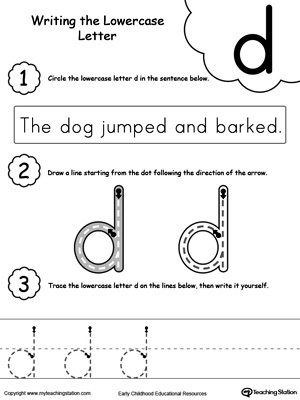 Kindergarten printable worksheets myteachingstation writing lowercase letter d thecheapjerseys Image collections