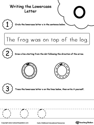 Practice writing alphabet lowercase letter O in this printable worksheet.