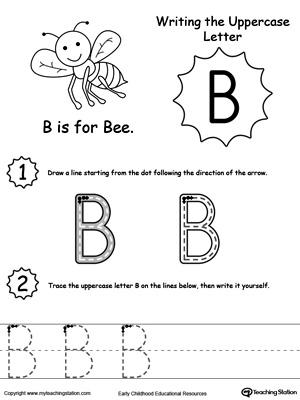 writing uppercase letter b myteachingstationcom