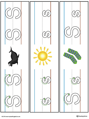 Letter S Formation Writing Mat Printable (Color)