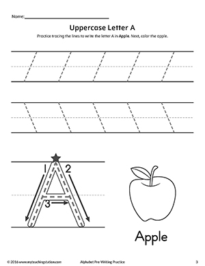 Uppercase Letter A Pre-Writing Practice Worksheet